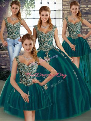 Glorious Peacock Green Ball Gowns Tulle Straps Sleeveless Beading and Appliques Floor Length Lace Up Sweet 16 Dress