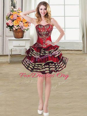 Deluxe Mini Length Ball Gowns Sleeveless Burgundy Prom Evening Gown Lace Up