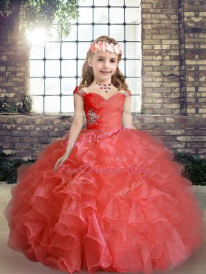 Gorgeous Straps Sleeveless Lace Up Kids Formal Wear Red Organza