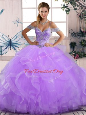 Perfect Ball Gowns Sweet 16 Dress Lavender Off The Shoulder Tulle Sleeveless Floor Length Lace Up