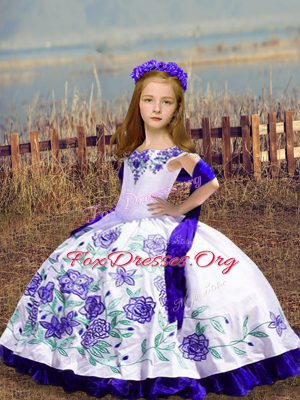Fantastic White Lace Up Off The Shoulder Embroidery Kids Formal Wear Satin Sleeveless