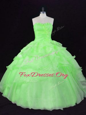 Floor Length Lace Up Quinceanera Gown for Sweet 16 and Quinceanera with Beading and Ruffles