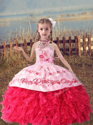 Coral Red Sleeveless Organza Lace Up Kids Formal Wear for Wedding Party