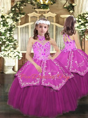 Lilac Lace Up Halter Top Embroidery Girls Pageant Dresses Tulle Sleeveless