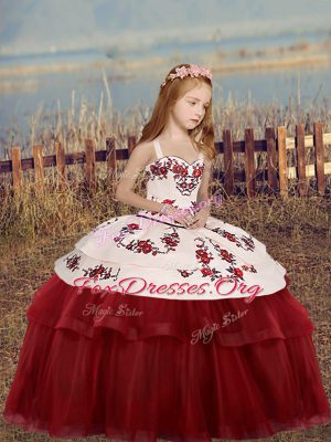 Red Ball Gowns Embroidery Kids Formal Wear Lace Up Tulle Sleeveless Floor Length
