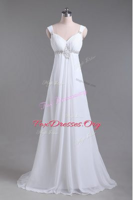Comfortable White Sleeveless Beading Lace Up Wedding Gown