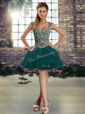 Sleeveless Tulle Mini Length Lace Up Prom Dresses in Dark Green with Beading and Ruffles