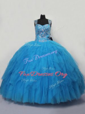 Ideal Sleeveless Tulle Floor Length Lace Up Quince Ball Gowns in Blue with Beading and Ruffles