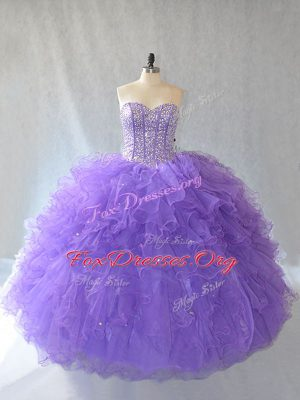 Ball Gowns Quinceanera Gowns Lavender Sweetheart Tulle Sleeveless Floor Length Lace Up