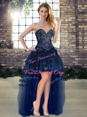 Glamorous Navy Blue A-line Sweetheart Sleeveless Tulle High Low Lace Up Beading and Ruffles