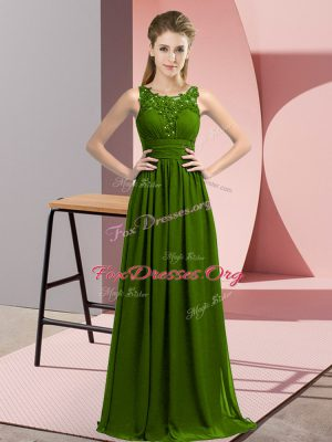Popular Floor Length Empire Sleeveless Olive Green Court Dresses for Sweet 16 Zipper