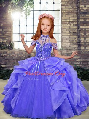 Blue Sleeveless Floor Length Beading and Ruffles Lace Up Pageant Dress for Girls