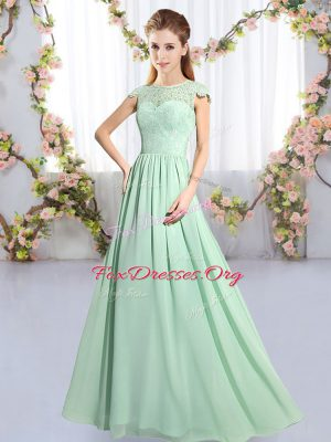 Apple Green Scoop Neckline Lace Bridesmaids Dress Cap Sleeves Clasp Handle