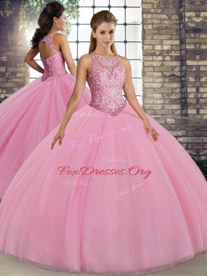 Unique Floor Length Pink Quinceanera Gowns Tulle Sleeveless Embroidery