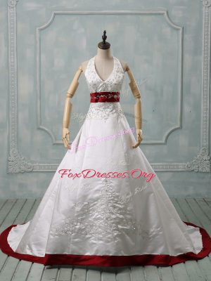 Luxurious White Satin Lace Up Halter Top Sleeveless Wedding Dress Brush Train Beading and Embroidery