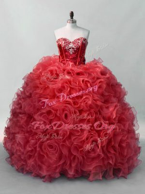 High End Sleeveless Organza Floor Length Lace Up Ball Gown Prom Dress in Red with Sequins