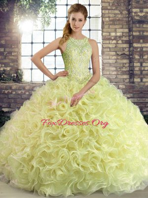 Fabulous Yellow Green Fabric With Rolling Flowers Lace Up Quinceanera Gowns Sleeveless Floor Length Beading