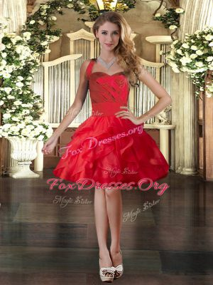 Red Sleeveless Tulle Lace Up Homecoming Dress for Prom and Party