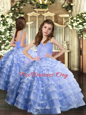 Lavender Ball Gowns Straps Sleeveless Organza Floor Length Lace Up Ruffled Layers Little Girls Pageant Dress Wholesale