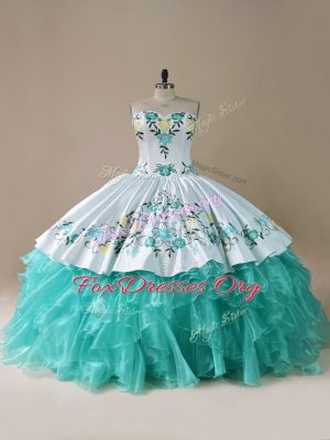 Gorgeous Blue And White Quinceanera Dress Sweet 16 and Quinceanera with Embroidery and Ruffles Sweetheart Sleeveless Lace Up