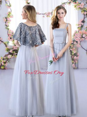 Unique Grey Lace Up Straps Appliques Quinceanera Court of Honor Dress Tulle Sleeveless
