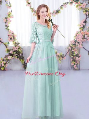 Customized Scoop Half Sleeves Tulle Dama Dress Lace and Belt Side Zipper