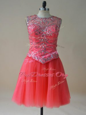 Adorable Mini Length Coral Red Club Wear Tulle Sleeveless Beading