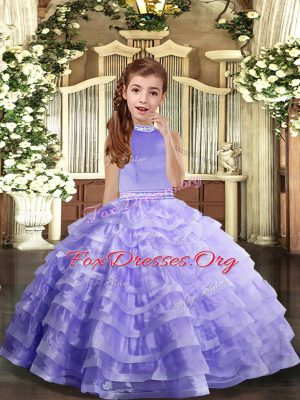 Lavender Ball Gowns Halter Top Sleeveless Organza Floor Length Backless Beading and Ruffled Layers Child Pageant Dress