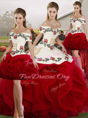 Floor Length Ball Gowns Sleeveless White And Red Quinceanera Dress Lace Up