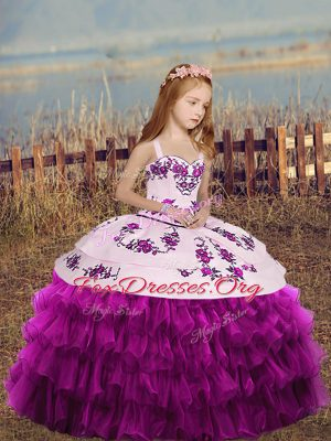 Perfect Straps Sleeveless Organza Kids Formal Wear Embroidery and Ruffled Layers and Bowknot Lace Up