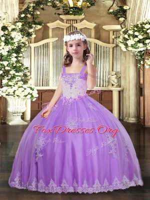 Tulle Straps Sleeveless Lace Up Appliques Evening Gowns in Lavender