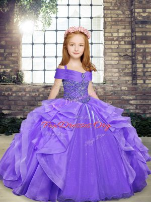 Lavender Ball Gowns Organza Straps Sleeveless Beading and Ruffles Floor Length Lace Up Pageant Dress Womens