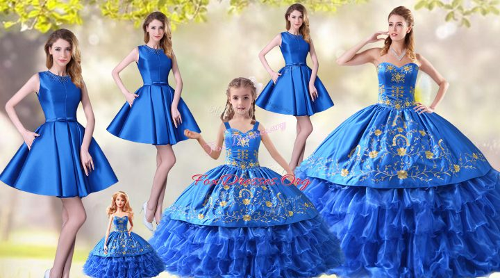 Ball Gowns Sleeveless Blue Quinceanera Dress Lace Up