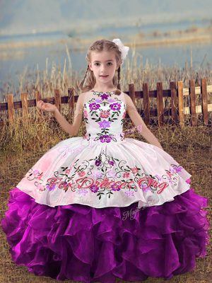 Hot Sale Purple Sleeveless Organza Lace Up Custom Made Pageant Dress for Wedding Party