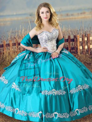 Charming Floor Length Lace Up Quinceanera Gown Aqua Blue for Sweet 16 and Quinceanera with Beading and Embroidery
