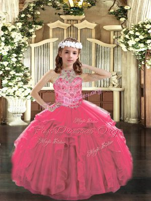 Hot Pink Tulle Lace Up Custom Made Pageant Dress Sleeveless Floor Length Beading and Ruffles