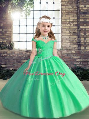 Tulle Straps Sleeveless Lace Up Beading Kids Formal Wear in Apple Green