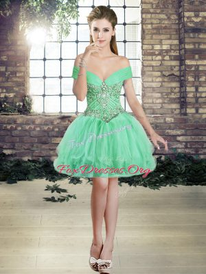 Sleeveless Tulle Mini Length Lace Up Cocktail Dresses in Apple Green with Beading and Ruffles