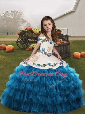 Dazzling Blue Girls Pageant Dresses Party and Military Ball and Wedding Party with Embroidery and Ruffled Layers Straps Sleeveless Lace Up