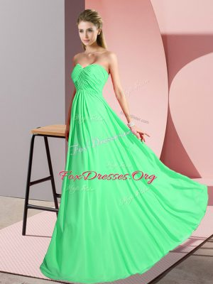 Beautiful Sleeveless Floor Length Ruching Lace Up Prom Dresses with Green