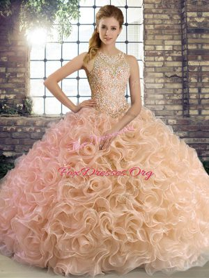 Shining Peach Ball Gowns Beading Vestidos de Quinceanera Lace Up Fabric With Rolling Flowers Sleeveless Floor Length