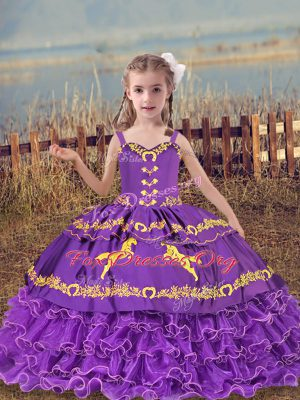 Best Lavender Organza Lace Up Pageant Dress Womens Sleeveless Floor Length Beading and Embroidery and Ruffled Layers