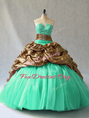 Turquoise Sleeveless Beading and Pick Ups Lace Up Ball Gown Prom Dress