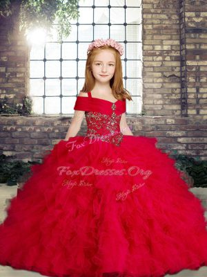 Lovely Straps Sleeveless Tulle Kids Formal Wear Beading and Ruffles Lace Up