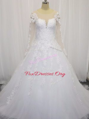 Fabulous White Tulle Zipper Scoop Long Sleeves Bridal Gown Court Train Beading and Lace