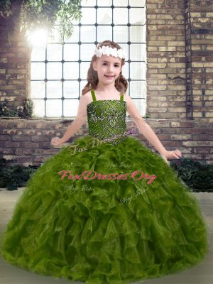 Olive Green Straps Lace Up Beading and Ruffles Child Pageant Dress Sleeveless