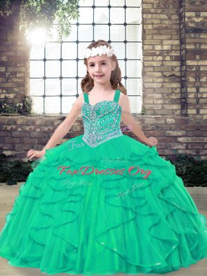 Most Popular Straps Sleeveless Lace Up Little Girls Pageant Dress Wholesale Turquoise Tulle