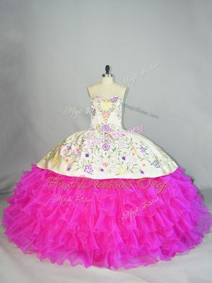Fancy Lace Up 15 Quinceanera Dress Fuchsia for Sweet 16 and Quinceanera with Embroidery and Ruffled Layers