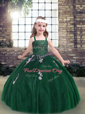 Trendy Tulle Straps Sleeveless Lace Up Appliques Kids Pageant Dress in Dark Green