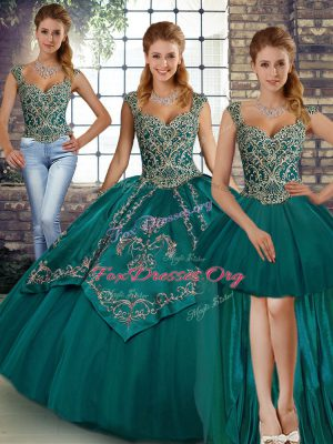 Teal Sleeveless Tulle Lace Up Quince Ball Gowns for Military Ball and Sweet 16 and Quinceanera